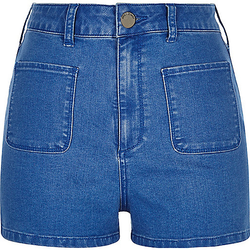 Bright blue high rise denim shorts