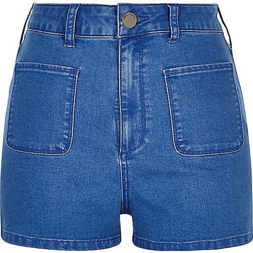 Short en jean bleu vif à taille haute