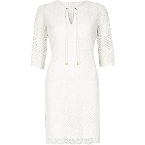 White lace tie-neck A-line dress