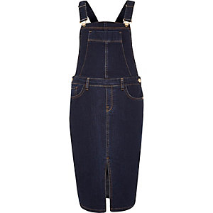 Dark blue denim overall dress