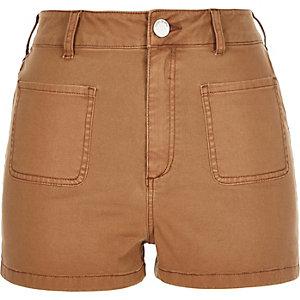 Brown high rise denim shorts