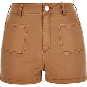 Brown high waisted denim shorts