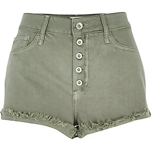 Green high waisted denim shorts