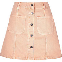 Pink denim button-up A-line skirt