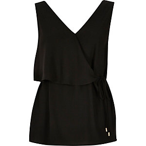 Black satin frill belted top