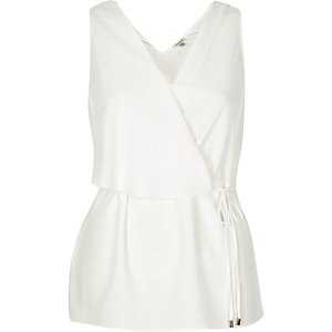 Cream belted sleeveless top