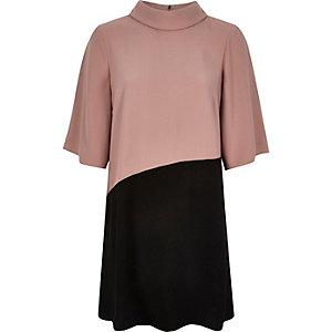 Dark pink cowl neck swing dress