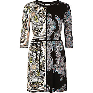 Black floral print belted waist tunic