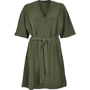 Khaki kimono swing dress