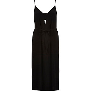 Black tab midi belted slip dress