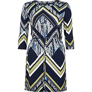 Black chevron print belted tunic