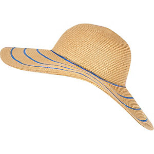 Beige stripe floppy hat