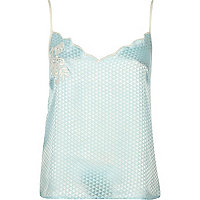 Blue embroidered jacquard cami pajama top
