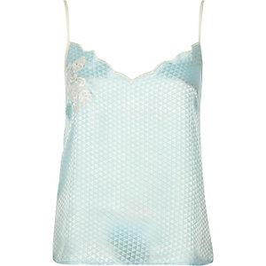 Blue embroidered cami pyjama top
