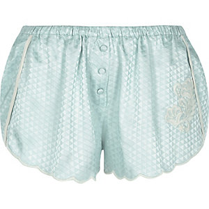 Blue appliqué jacquard pyjama shorts