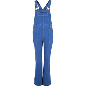 Bright blue denim wide leg overalls