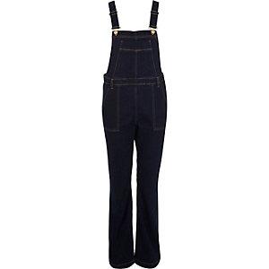 Dark blue denim flared overalls