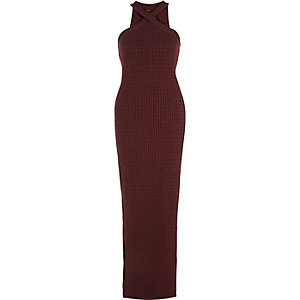Red ribbed cross neck maxi dress