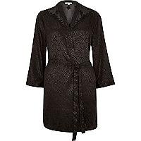 Black silky floral lace kimono robe