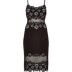 Black laser cut bodycon dress