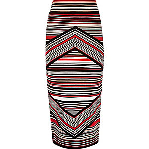 Red stripe knitted midi pencil skirt
