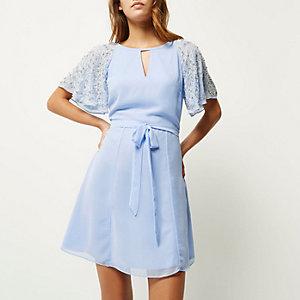 Blue embellished sleeve dress