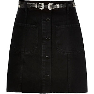 Black denim belted button-up skirt