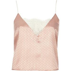 Pink jacquard cami pajama top
