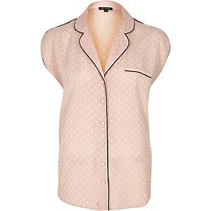 Pink polka dot pajama shirt