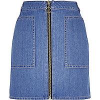 Blue denim zip-up skirt