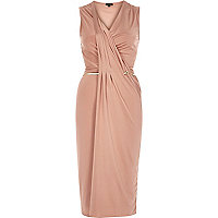 Light pink slinky drape bodycon dress