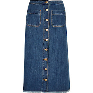 Mid wash denim button down midi skirt
