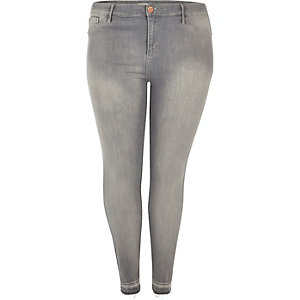 Light grey raw hem Molly jeggings
