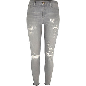 Light grey wash ripped Molly jeggings
