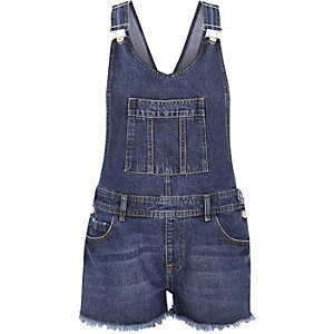 Blue denim frayed hem short overalls
