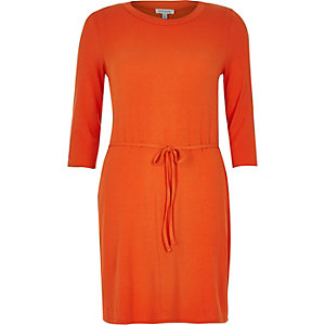 Orange belted tunic top