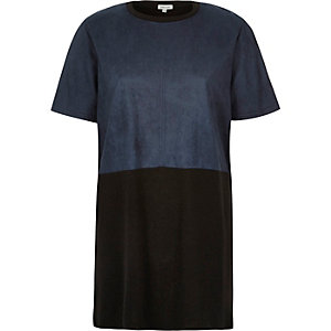 Navy color block oversized t-shirt