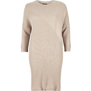 Beige lightweight ribbed slouchy longline top
