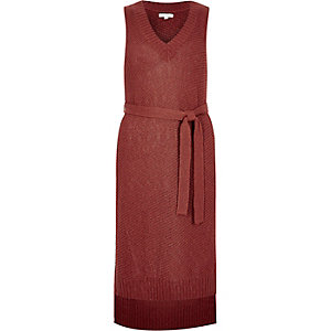 Rust brown knit sleeveless tunic
