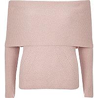 Pink bardot knitted sweater