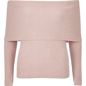 Pink bardot knitted sweater