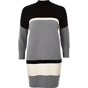 Grey ribbed block panel sweater dress