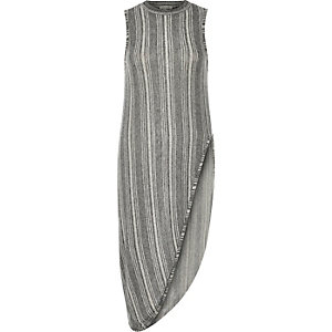 Grey stripe sleeveless longline vest