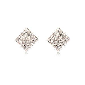 Silver tone embellished square stud earrings