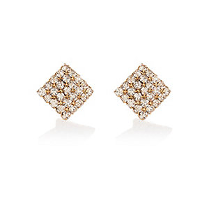 Gold tone embellished square stud earrings
