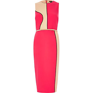 Red color block bodycon dress