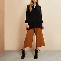 Black RI Studio minimal oversized silk shirt