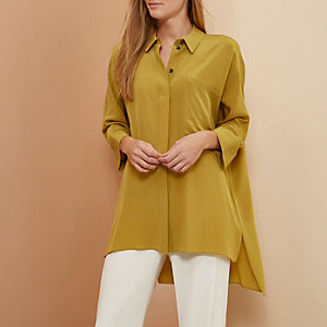Yellow RI Studio minimal oversized silk shirt