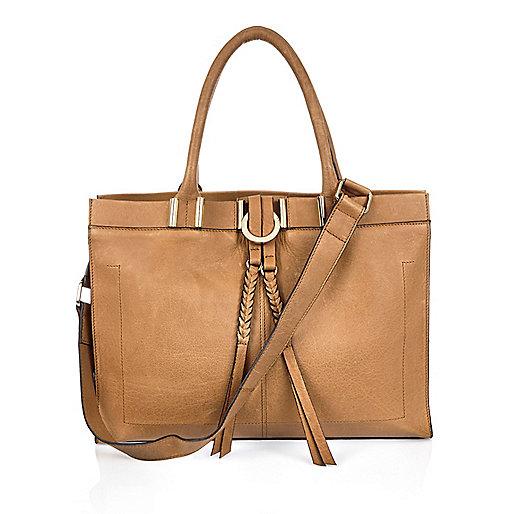 Tan brown leather plaited handbag