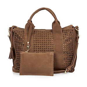 Brown suede laser cut handbag